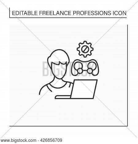 Game Developer Line Icon. Programmer. Create Gaming Code, Software.plan, Design, Produce Video Games