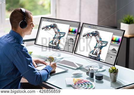 Graphic Web Designer Artist Using Computer To Design