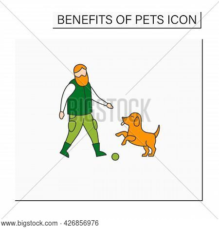 Pets Benefits Color Icon. Puppy Provide Companionship. Man Plays With Dog.animal Caring Concept. Iso