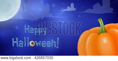 Halloween Card Background With Moon And Pumpkin