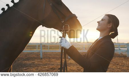 Female Horse Owner Looking At Her Dark Bay Horse. Smiling And Expressing Her Affection For The Stall