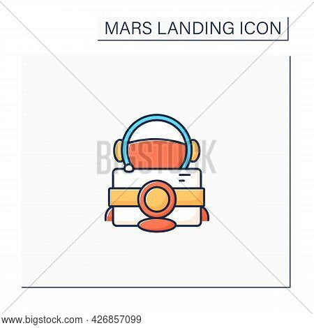 Astronaut Camera Color Icon. Special Equipment. Photographing Planet Landscapes. Mars Landing Concep