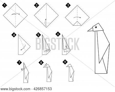 Step By Step How To Make Origami Penguin Bird . Vector Monochrome Instructions Illustration. Black A