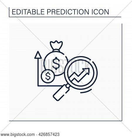 Marketing Predictive Analytics Line Icon. Grow Profitable Customers. Detailed Research. Promote Cros