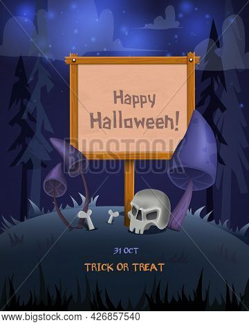 Halloween Background With Empty Wooden Desk And Creepy Mushrooms