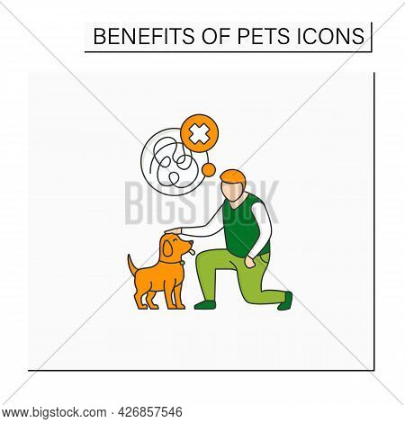 Pets Benefits Color Icon.reducing Anxiety. Calming Down. Dog Help With Depression.reduce Stress. Ani