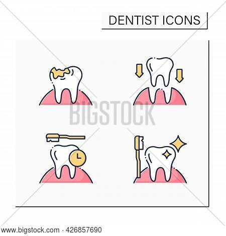 Dentist Color Icons Set. Tooth Transplants And Decay, Oral Hygiene. Healthcare Concept. Isolated Vec
