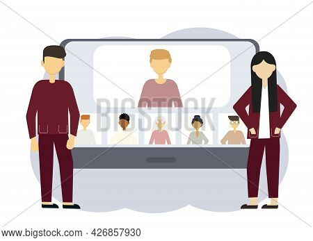Online Conference Illustration. A Man And Woman Next To A Computer With Portraits Of Men And Women