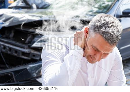Car Accident Injury And Neck Pain. Auto Stress