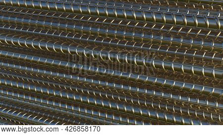Steel Rebar Background - Isolated Concept Industrial 3d Rendering