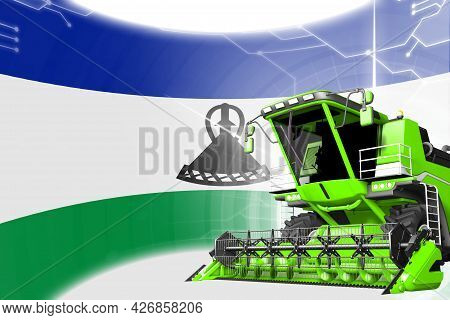 Digital Industrial 3d Illustration Of Green Advanced Farm Combine Harvester On Lesotho Flag - Agricu