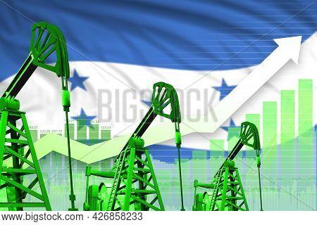 Honduras Oil Industry Concept, Industrial Illustration - Rising Up Chart On Honduras Flag Background