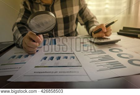 Audit Concept. Close-up Of Auditor Checking Financial Statement, Internal Audit, Auditing Tax, Analy