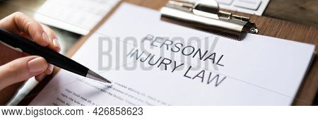 Personal Injury Law And Legal Compensation. Claim Paper