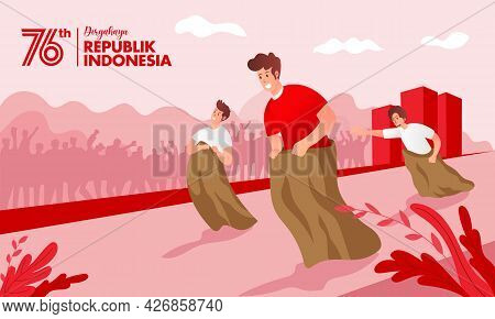 Indonesia Independence Day Greeting Card With Traditional Games Concept Illustration. Dirgahayu Repu