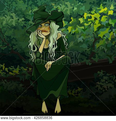 Cartoon Beautiful Woman In Witch Costume Lost In Thought Sits In The Forest
