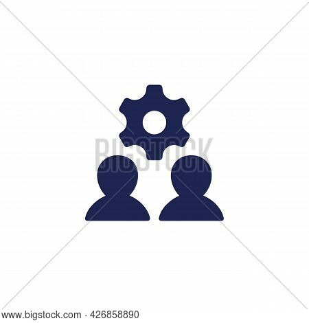 People Interaction Icon With Gear And Users