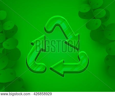 Recycling Sign, Triangular Looped Arrows, Green Icon White Background. Vector