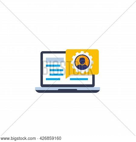 Account, Edit Profile Icon With A Laptop