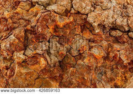 Ferrous Iron Stone Ore Metallurgical Macro Texture And Background.