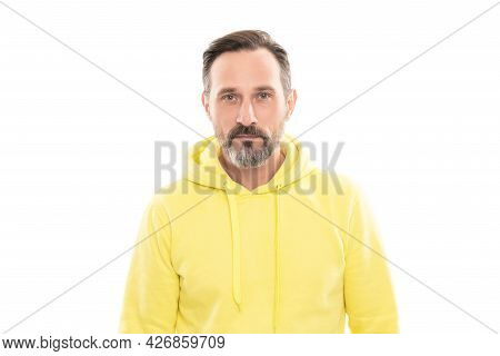Handsome Mature Man With Beard And Moustache In Hoody Isolated On White, Casual