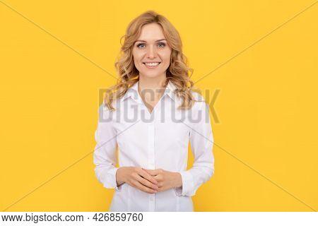 Happy Blonde Businesswoman Woman In White Shirt, Boss