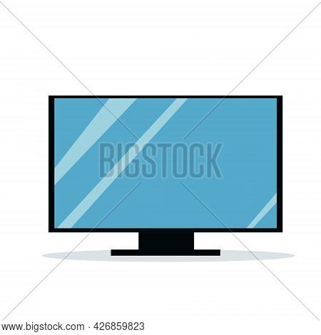 Illustration Of A Flat Modern Tv On A Stand. Isolated
