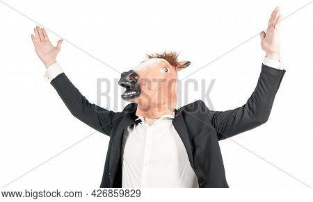 Hardworking Man Businessman Wear Weird Horse Head Mask In Formalwear Isolated On White, Workhorse