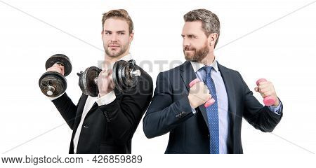 Cooperation Not Competition. Businessmen Do Dumbbell Workout. Competition Is The Life Of Business