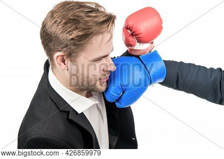 Young Professional Business Man Get Punched In Face With Boxing Glove Isolated On White, Looser