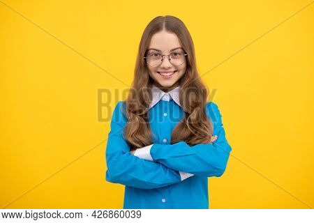 Confident Teenage Girl In Eyeglasses Happy Smile Keeping Arms Crossed Blue Background, Confidence