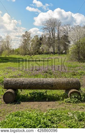 Bench Made Of Logs On Background Of Clearings And Deciduous Forest. Blue Sky With White Clouds Shine