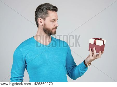 Handsome Man Prepare For Romance Date. Mature Man With Business Reward. Occasion Greeting.