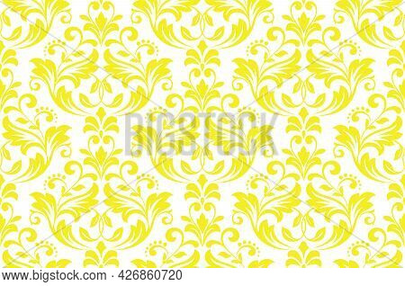 Wallpaper In The Style Of Baroque. Seamless Vector Background. White And Yellow Floral Ornament. Gra