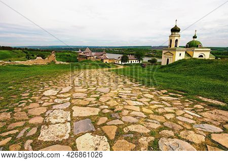 Detailed View Of The Ancient Cobblestone Way To The Medieval Khotyn Fortress. Wide-angle Spring Land