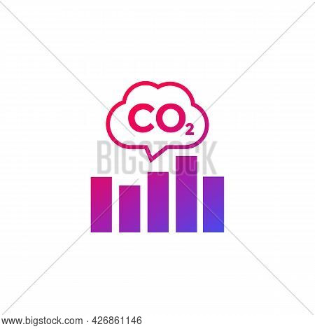 Co2, Carbon Emissions Levels Chart Icon On White