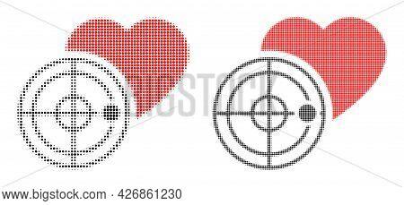 Dotted Halftone Love Heart Radar Icon. Vector Halftone Mosaic Of Love Heart Radar Icon Designed Of R