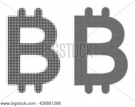 Pixel Halftone Bitcoin Icon. Vector Halftone Composition Of Bitcoin Icon Done Of Round Pixels.