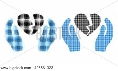 Dotted Halftone Broken Heart Care Palms Icon. Vector Halftone Composition Of Broken Heart Care Palms
