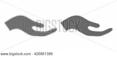 Pixelated Halftone Petition Hand Icon. Vector Halftone Pattern Of Petition Hand Icon Made Of Circle