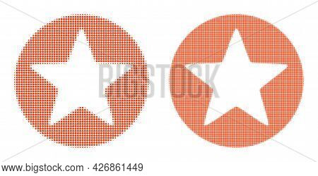 Dot Halftone Rounded Star Icon. Vector Halftone Mosaic Of Rounded Star Icon Constructed Of Spheric P