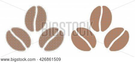 Pixelated Halftone Cacao Beans Icon. Vector Halftone Mosaic Of Cacao Beans Icon Organized Of Round I