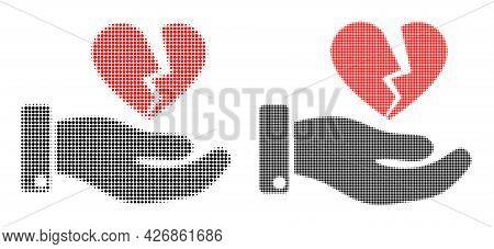 Dot Halftone Break Heart Offer Icon. Vector Halftone Pattern Of Break Heart Offer Icon Formed Of Cir