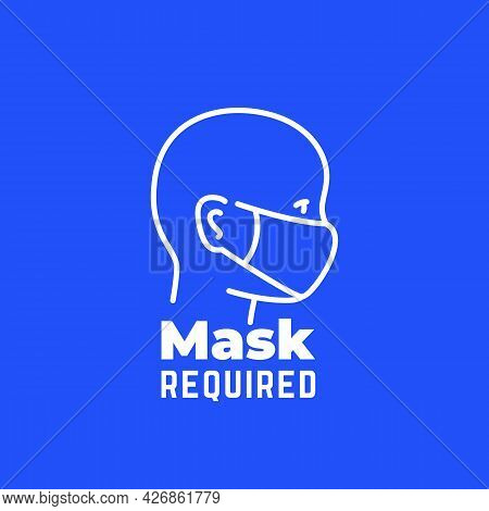 Mask Required Sign, Line Icon, Vector Art
