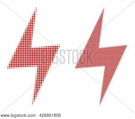 Dotted Halftone Electric Hazard Icon. Vector Halftone Composition Of Electric Hazard Icon Designed O