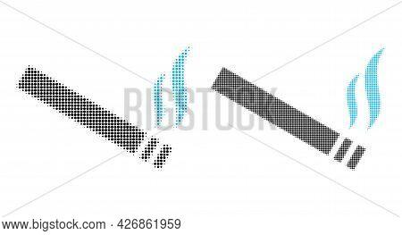 Pixelated Halftone Cigarette Smoke Icon. Vector Halftone Pattern Of Cigarette Smoke Icon Combined Of