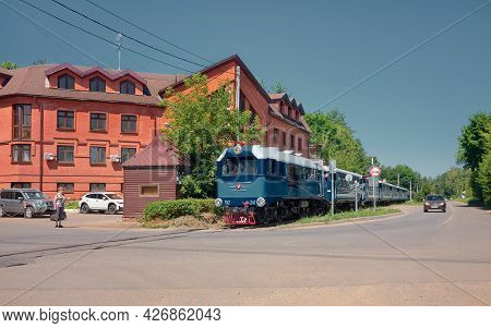 Childrens Railway, Railway Train Moves Along The Streets Of The City, Stylized: Zhukovsky, Russia -