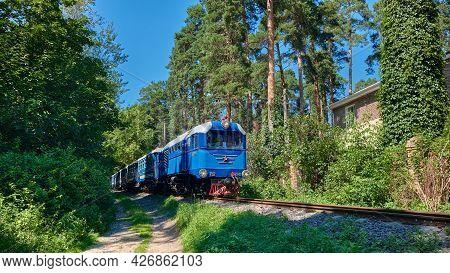 Going Childrens Railroad Train In Zhukovsky Town Near Moscow, Landmark: Zhukovsky, Russia - July 06,