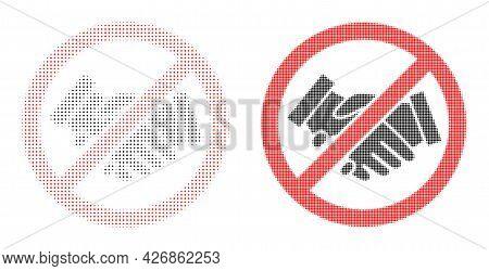 Pixel Halftone Stop Handshakes Icon. Vector Halftone Concept Of Stop Handshakes Icon Formed Of Round