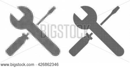 Pixel Halftone Screwdrivers And Wrench Icon. Vector Halftone Concept Of Screwdrivers And Wrench Icon